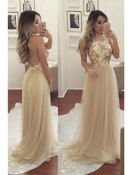A-Line  Spaghetti Straps Criss-Cross Straps Sweep Train Champagne Prom Dress with Appliques