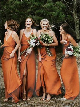 A-Line Spaghetti Straps Long Chiffon Backless Orange Bridesmaid Dress with Split
