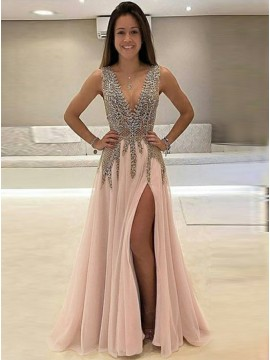 A-Line Deep V-Neck Sweep Train Pink Tulle Prom Dress with Beading