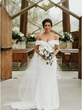 Simple Column Off the Shoulder Wedding Dress