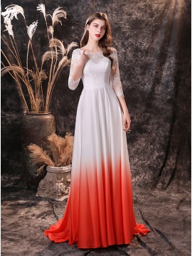 Satin Ombre Beach Wedding Dress with Lace Sleeves