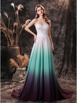Sweetheart Ombre White and Green Wedding Dress