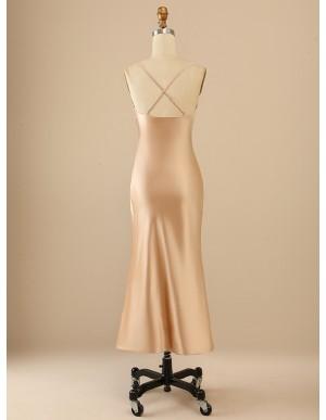Long Cowl Neck Champagne Beach Bridesmaid Dress