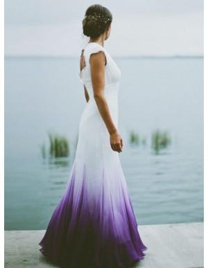 Mermaid V-neck Open Back Purple Dip Dye Chiffon Wedding Dress