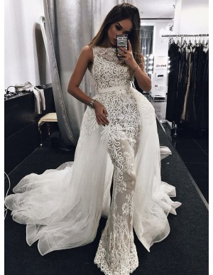 Mermaid Bateau Long Detachable Wedding Dress with Appliques