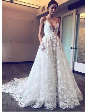 A-Line Spahetti Straps Lace Wedding Dress with Pockets
