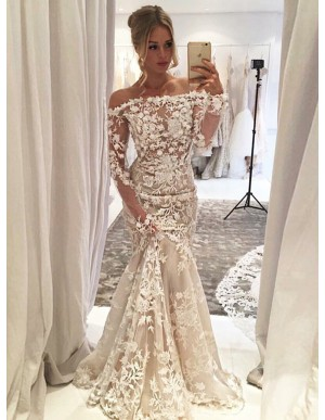 Mermaid Off-the-Shoulder Light Champagne Tulle Prom Dress with Appliques Flowers
