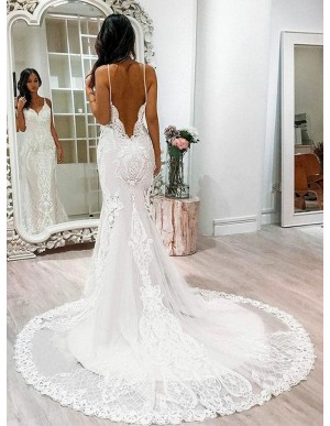 Mermaid Spaghetti Straps Backless White Wedding Dress with Appliques