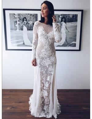 Mermaid Bateau Long Sleeves Backless Sweep Train White Wedding Dress with Appliques
