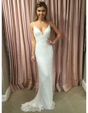 Mermaid Spaghetti Straps Backless Wedding Dress with Beading