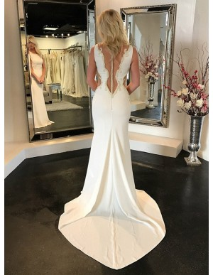 Mermaid Square Neck Sweep Train Wedding Dress with Appliques