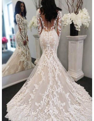 Mermaid Bateau Long Sleeves Sweep Train Wedding Dress with Appliques