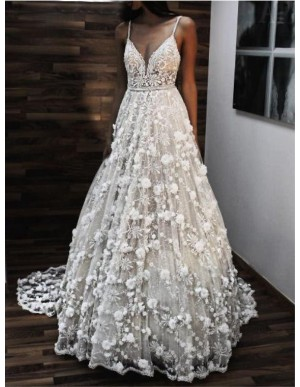 Spaghetti Straps Backless Wedding Dress with Flowers Boho Bridal Dress