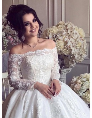 Ball Gown Off-the-Shoulder Long Sleeves Wedding Dress with Appliques
