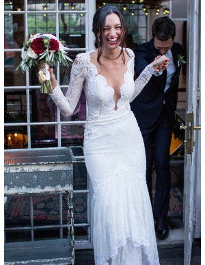 Mermaid V-Neck Long Sleeves Lace Wedding Dress with Appliques