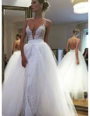 Mermiad Spaghetti Straps Lace Detachable Backless Wedding Dress