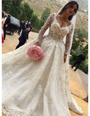 Ball Gown V-Neck Long Sleeves Court Train Wedding Dress with Appliques