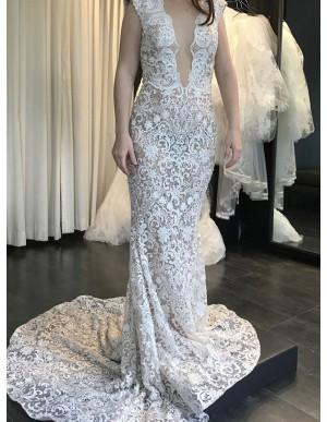 Mermaid Bateau Backless Light Champagne Lace Wedding Dress