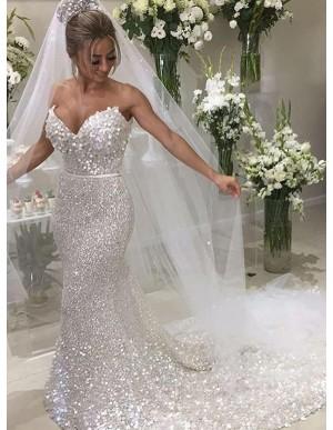 Mermaid Sweetheart Chapel Train Silver Sequined Wedding Dress
