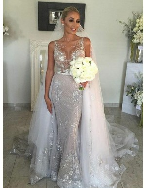 Mermaid Round Neck Silver Detachable Wedding Dress with Appliques