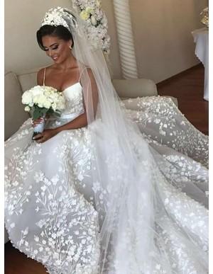A-Line Spaghetti Straps Court Train Wedding Dress with Appliques