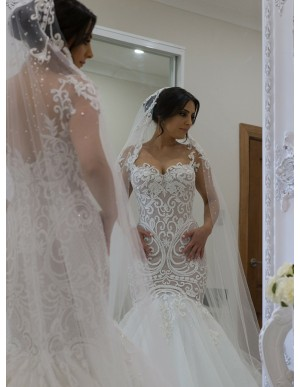 Mermaid Square Sweep Train Wedding Dress with Appliques Beading