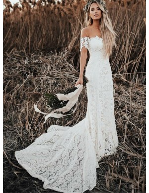 Mermaid Off the Shoulder Short Sleeves Lace Beach Boho Wedding Dress