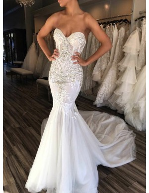 Mermaid Sweetheart Sleeveless White Tulle Wedding Bridal Dress with Beading