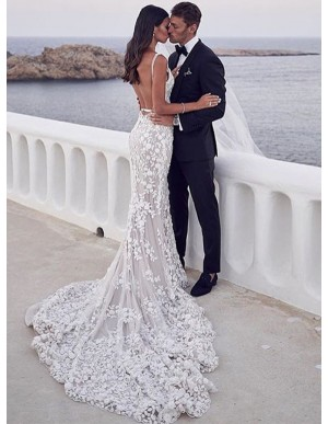 V-Neck Backless Sleeveless Mermaid Wedding Dress with Appliques