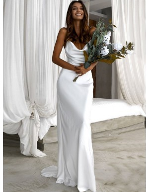 Free Shipping Simple Sheath Cowl Backless Beach Wedding Dress