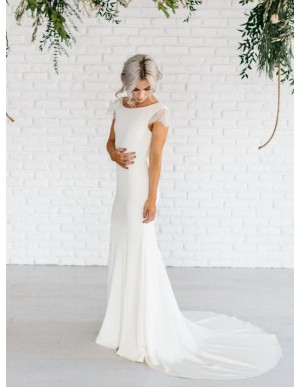 Elegant Open Back Mermaid Wedding Dress with Cap Sleeves