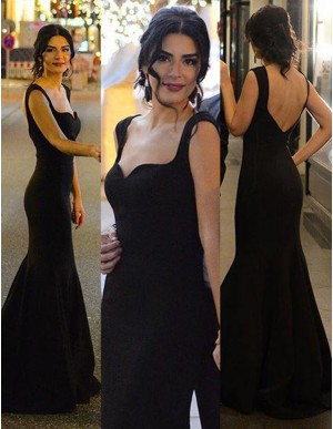 Generous Black Mermaid Straps Sleeveless Sweep Train Backless Prom Dress