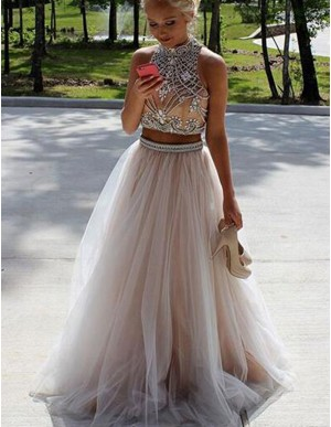 Fabulous Champagne Two Piece High Neck Open Back Beading Rhinestones Prom Dress