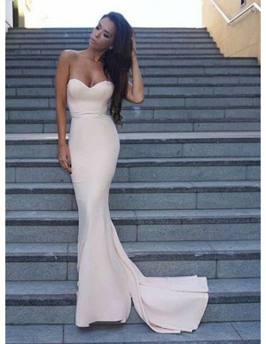 Decent Ivory Mermaid Sweetheart Sleeveless Sweep Train Prom Dress