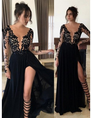 Sexy Black Round Neck Long Sleeves Legslit with Lace Prom Dress