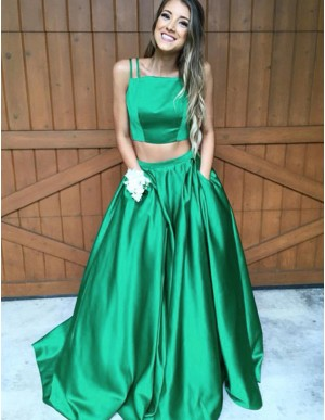 Simple Green Two Piece Spaghetti Straps Pockets Long Prom Dress