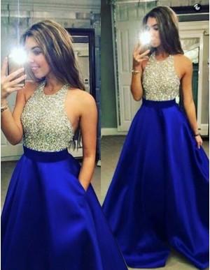 Dramatic Royal Blue Halter Floor-Length Beading Backless Prom Dress