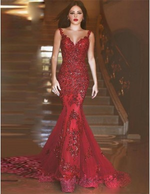 Luxurious Mermaid Prom Dress with Appliques Back Perspective Dark Red Evening Dress