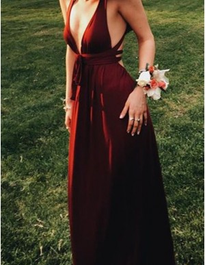 Popular A-Line Deep V-Neck Convertible Burgundy Prom Dress Long Party Dress