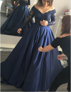 Stylish Off the Shoulder Long Beading Long Navy Blue Prom Dress with Sleeves