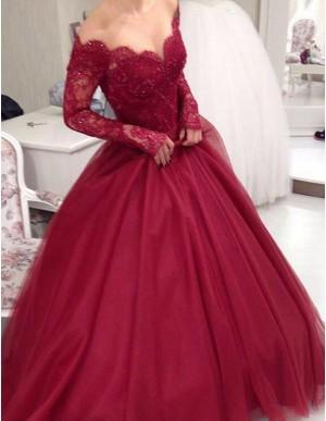 Elegant Burgundy Off the Shoulder Long Sleeves Beading Long Prom Dress