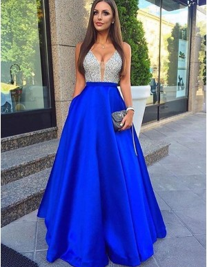 Glamorous Royal Blue Deep V-Neck Sleeveless Long Beading Prom Dress
