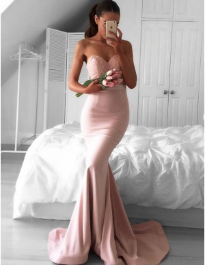 Modern Blush Mermaid Sweetheart Sweep Train Lace Top Prom Dress