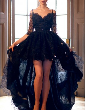 Modern Black Spaghetti Straps Half Sleeves High Low Beading Lace Prom Dress