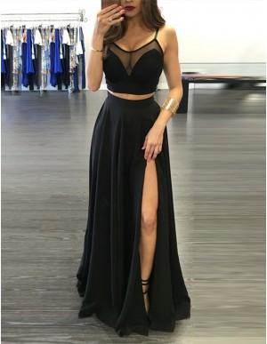 Chic Black Two Piece Spaghetti Straps Split Front Pleats Prom Dress