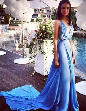 Stunning Blue Deep V-Neck Split Front Pleats Long Backless Prom Dress