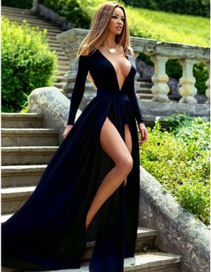 Sexy Navy Blue V-Neck Long Sleeves Split Front Sweep Train Prom Dress