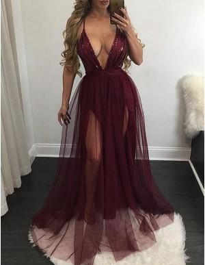 Sexy Burgundy Deep V-Neck Sleeveless Floor-Length Sequins Prom Dress