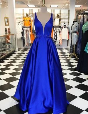 A-Line Deep V-Neck Sleeveless Floor-Length Royal Blue Prom Dress with Beading