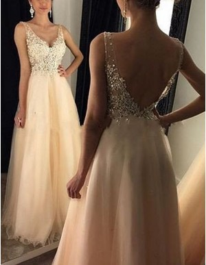 A-line Deep V-Neck Backless Floor Length Ivory Prom Dress with Beading Appliques